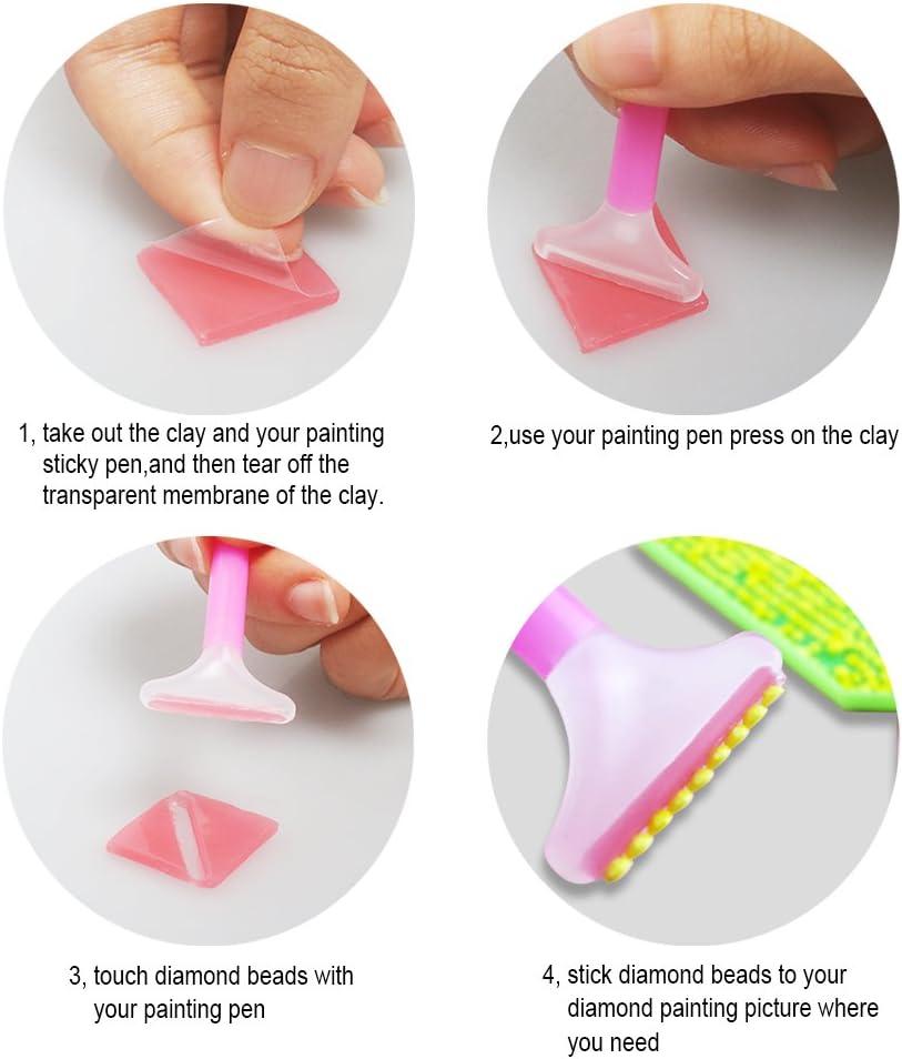2x2cm Blockage Plaster Diamond Painting Wax for Diamond Painting 60pcs 5D Diamond Painting Glue Clay Environmental DIY Diamond Embroidery Glue Embroidery Cross-Stitch Painting Set Tool