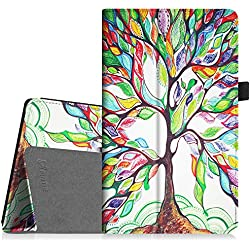 Fintie Folio Case for All-New Amazon Fire HD 8 Tablet (7th Generation, 2017 Release) - Slim Fit Premium Vegan Leather Standing Protective Cover with Auto Wake / Sleep, Love Tree