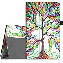 Fintie Folio Case for All-New Amazon Fire HD 8 Tablet (7th Generation, 2017 Release) - Slim Fit Premium Vegan Leather Standing Protective Cover with Auto Wake/Sleep, Love Tree