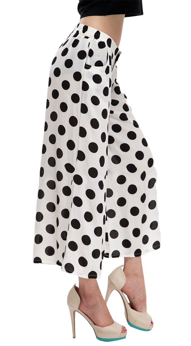 Taiycyxgan Women's High Waisted Chiffon Dot Plus Palazzo Pants Ninth Wide Leg Pants L