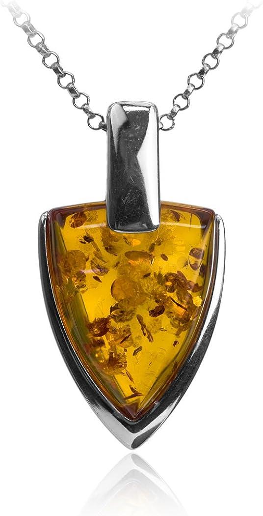 Noda collar de plata de ley con ámbar miel Escudo