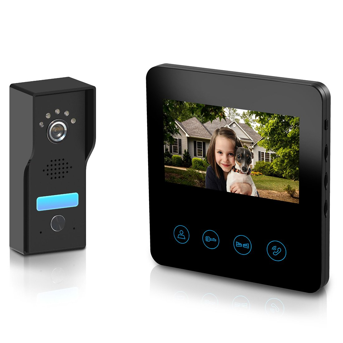 Video Doorbell with 4.3inch Monitor - Video Door Phone Intercom Kit 4-wires unlock function 1-Metal camera 1-monitor Night Vision Touch Button Screen - No Wi-Fi & APP (black)
