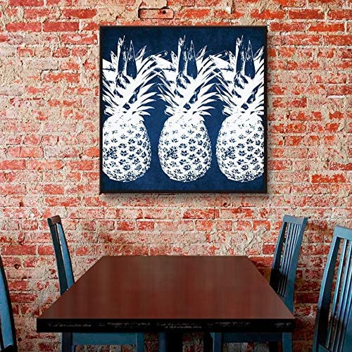 Amazon Com Artwall Linda Woods S Indigo Pineapple Gallery Wrapped Floater Framed Canvas 14x14 Posters Prints