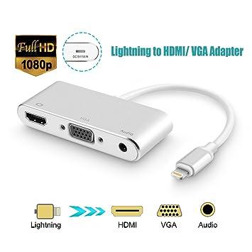 Lightning Adaptador de HDMI a VGA, VGA HDMI Cable conversor de ...