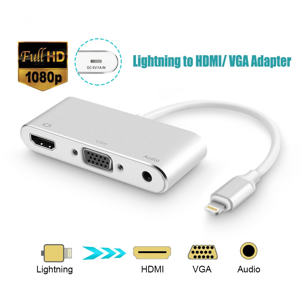 Opluz Lightning to VGA HDMI Adapter, Silver VGA HDMI Audio Converter Cable to Lightning Compatible for iPhone 5 6 6S 7 Plus iPad iPod to Projector Monitor TV Support Audio Vedio Output