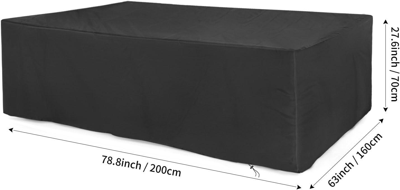 Anti Vento Sole Neve Tessuto 420D Oxford Copertura per Tavolo da Esterno Dokon Copertura Mobili Giardino Impermeabile Telo Protettivo per Tavolo - Nero 200x160x70cm Rettangolare