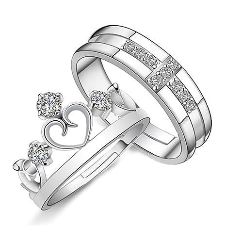 JUNGEN® 2 Anillos Pareja, anillos de compromiso, Anillo de plata en forma de