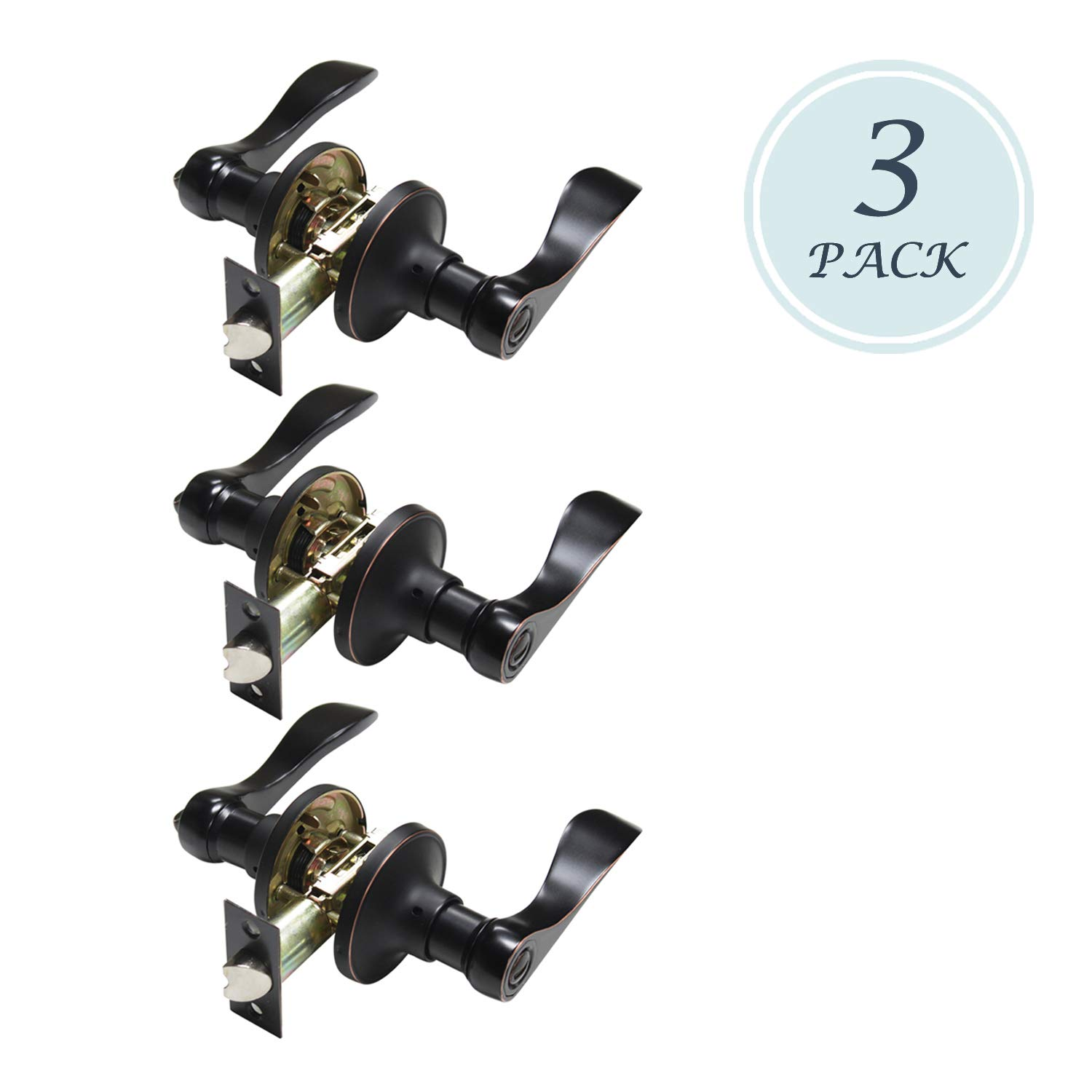 Privacy Door Levers Lock/Lever with In-Use or Vacant Indicator Commercial Grade, Keyless Drop Lever Perfect for Additional Privacy and Security, Used for Bathroom/Bedroom 3 Pack