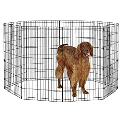 The black metal Exercise Pen / Pet Playpen by New World Pet Products provides a great enclosure to keep your dog (and many other pets) safe & secure while indoors or outside. These Exercise Pens / Pet Playpens are made of very durable met...