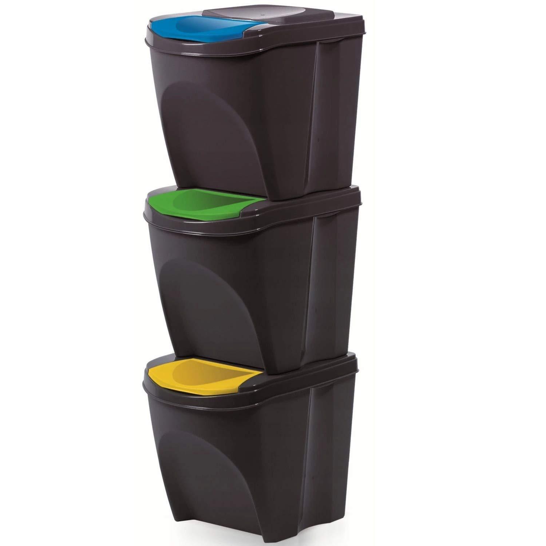 Juego de 3 Cubos de Basura 20 L Prosperplast