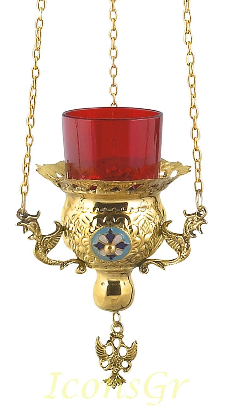 Gold Plated Orthodox Greek Christian Bronze Hanging Votive Vigil Oil Lamp with Chain and Red Glass - 9771g by Iconsgr