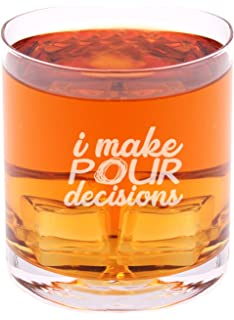 I make pour decisions - Funny Novelty Whisky on the Rocks Glass with Coaster and Gift
