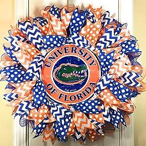 "Florida Gators Wreath for front door with deco mesh & ribbon, UF, 26"" 89"