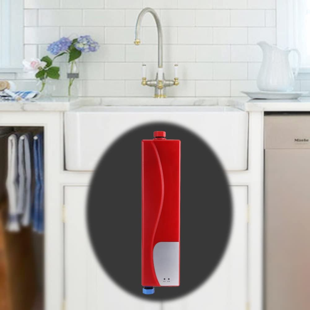 GOTOTP Calentador de Agua El/éctrico Instant/áneo sin Tanque con Luz Indicadora LED 3000W Blanco