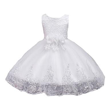 04f6154168141 LSERVER Enfant Fille Robe de Demoiselle d honneur Mariage Soirée Paillettés Robe  Cérémonie Filles Brodé
