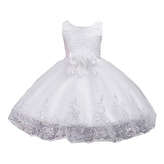 LSERVER Vestido de Encaje para Las Niñas en Fiestas Princesa Vestido Blanco 100