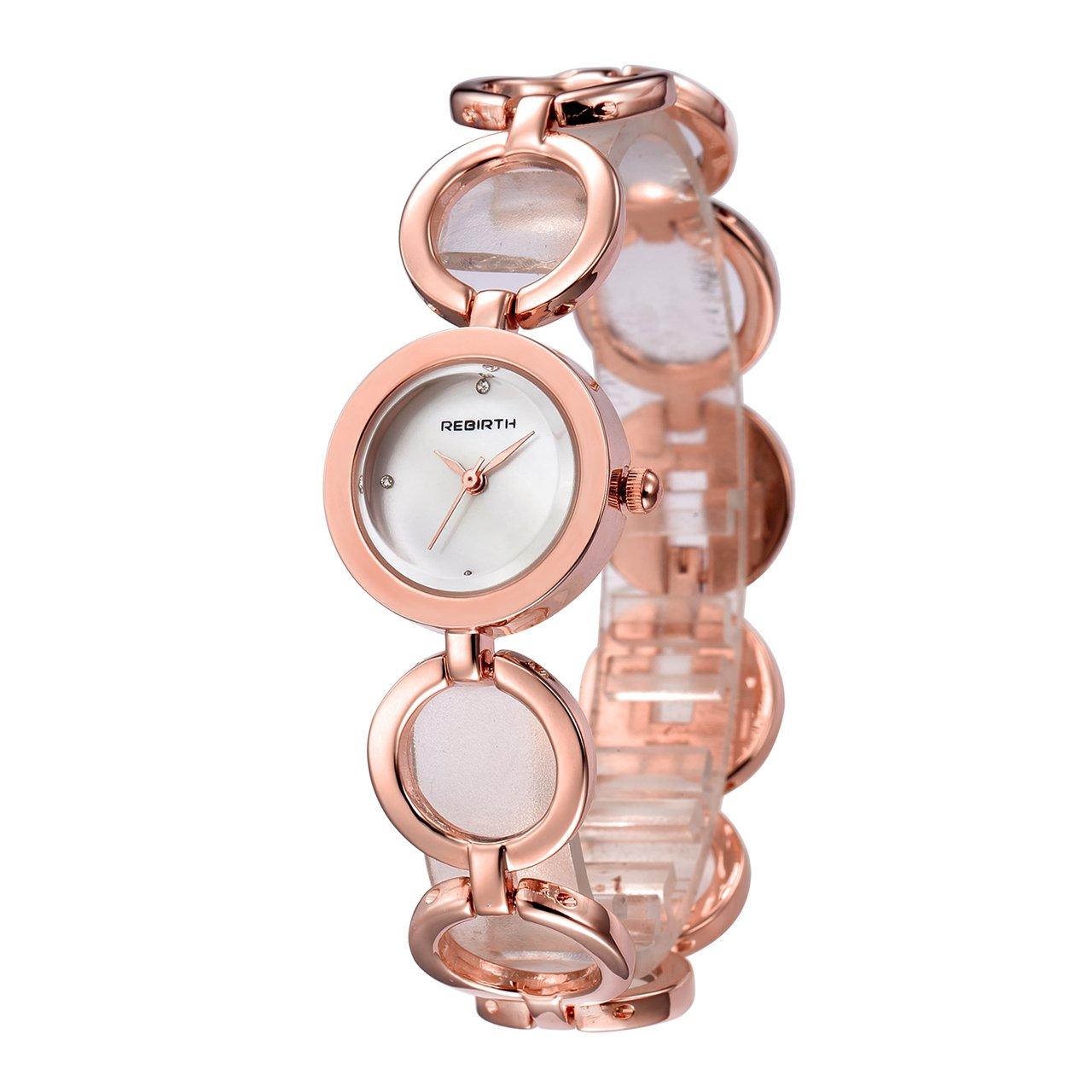 Top Plaza Women Fashion Luxury Quartz Analog Bangle Cuff Dress Barcelet Wrist Watch with Circle Band,Rhinestone Hour Marker,Jewelry Hidden Buckle(Rose Gold Tone)
