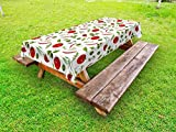 Lunarable Vegetables Outdoor Tablecloth, Having Dinner Lunch Time Tomatoes Dill Herbs Restaurant Spicy Image, Decorative Washable Picnic Table Cloth, 58 X 84 inches, Ruby Fern Green White