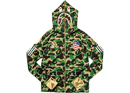 084027f0355d6 Bape A Bathing Ape x 3 Stripes SB Shark Hoodie Hooded Tech Sweatshirt Green  100%