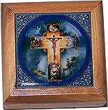 Holy Land Market First Communion Box - Rosary Box - Bethlehem Olive wood (Ceramic - Crucifixion)