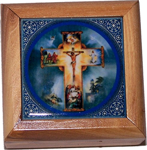 Holy Land Market First Communion Box - Rosary Box - Bethlehem Olive wood (Ceramic - Crucifixion) by Holy Land Market (Image #3)