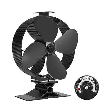 Ventilador de estufa grande de funcionamiento silencioso de 4 cuchillas para hornear leña/leña/chimenea - Eco Friendly: Amazon.es: Bricolaje y herramientas