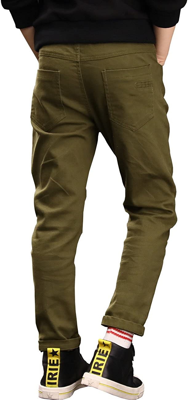 BYCR Boys Elastic Waistband Slim Fit Jogging School Pants for Kids Size 4-16