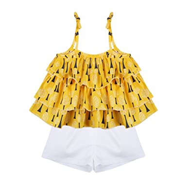 7353c9ee149e Amazon.com  BOBORA Baby Girl Floral Ruffled Vest Tops T-Shirts+ ...