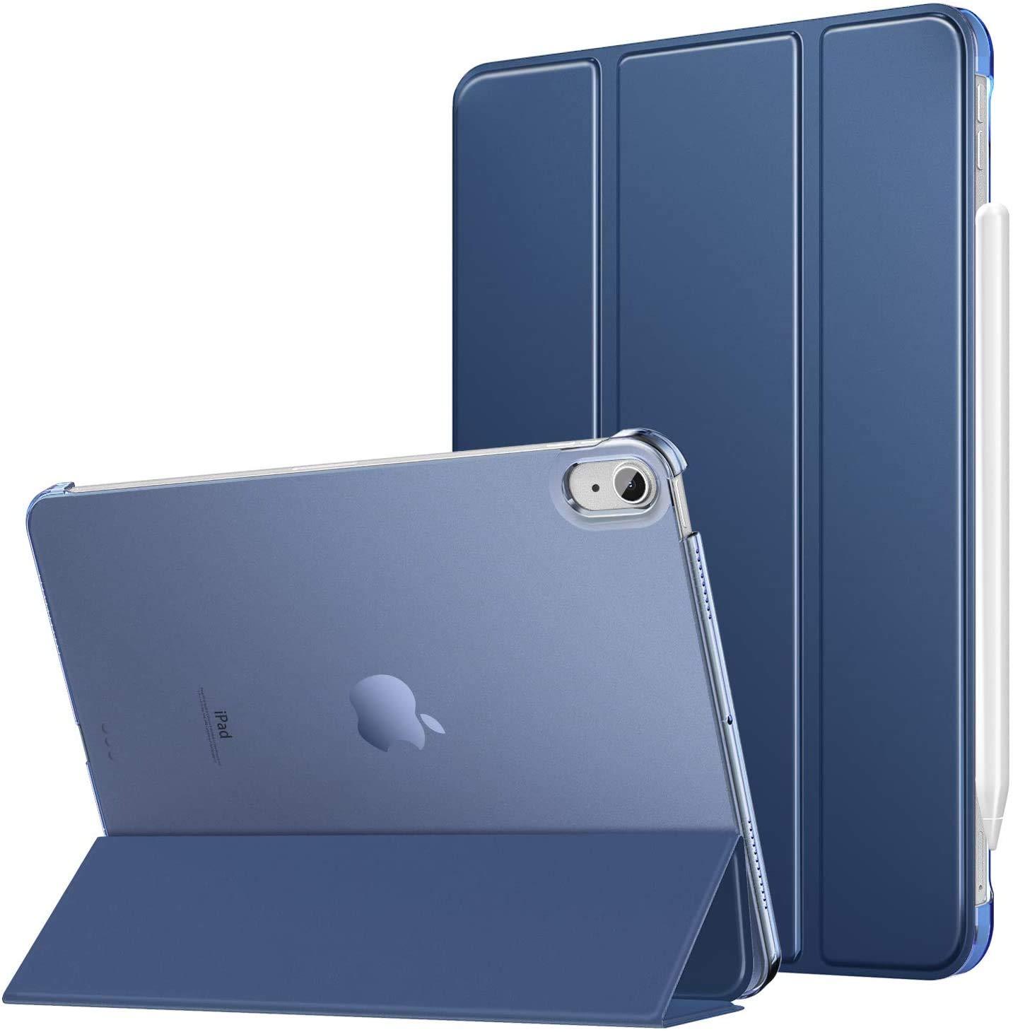 ProElite Smart Flip Case Cover for Apple iPad Air 4 10.9 inch , Translucent Back, Dark Blue