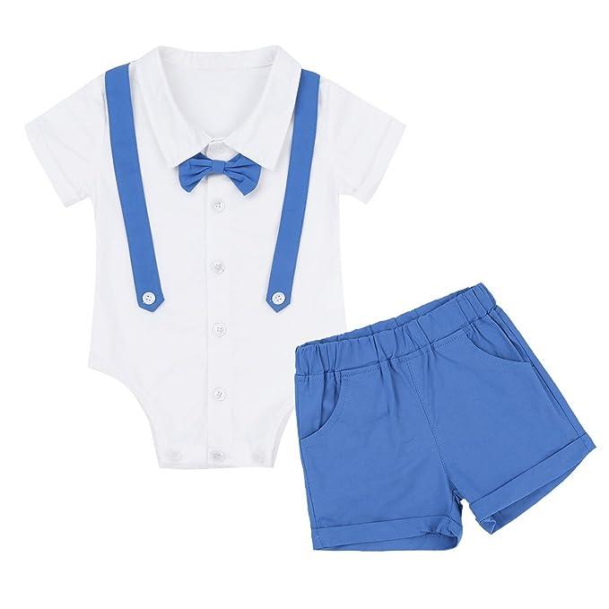 YiZYiF Conjunto Ropa para bebé niño Bebés Peleles Polo Monos Manga Corta Algodón Mameluco y Pantalones Cortos Verano Blanco y Azul 9-12Meses: Amazon.es: ...
