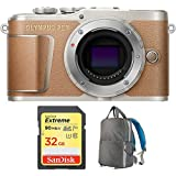 Olympus PEN E-PL9 16.1 MP Wi-Fi 4K Mirrorless Camera Body Honey Brown (V205090NU000) with Sandisk 32GB Extreme SD Memory UHS-I Card & Deco Gear Large Photo/Video Backpac Grey