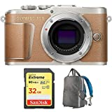 Olympus PEN E-PL9 16.1 MP Wi-Fi 4K Mirrorless Camera Body with Sandisk 32GB Extreme SD Memory UHS-I Card & Deco Gear Large Photo/Video Grey Backpack (Camera Bundle, Honey Brown) For Sale