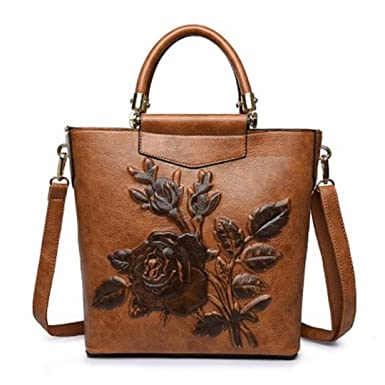 8c1fb5afb6d6 Amazon.com  Women Designer Leather Hobo Bucket Bags Large Embroidery  Embossing Printing Retro Floral Handbag Tote Bag Brown 25x10x27cm  Clothing