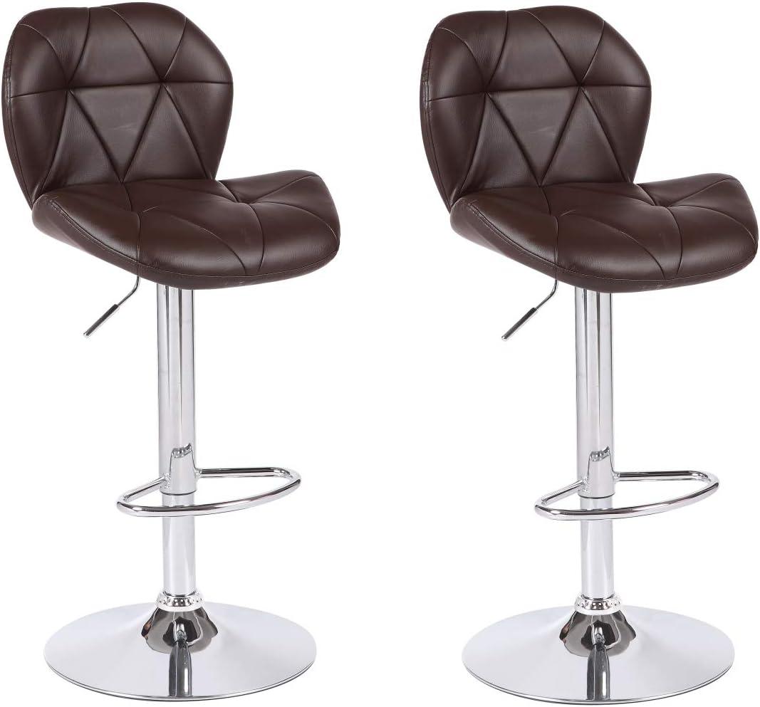 Viscologic Dream 2 Swivel Leatherette Adjustable Hydraulic Bar Stool Ys-8595, Set of 2 Brown