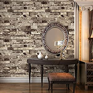Haokhome 91301 Modern Faux Brick Stone Textured Wallpaper