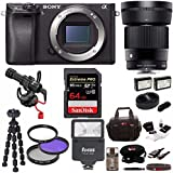 Sony Alpha a6300 4K Mirrorless Body (ILCE6300/B) with Sigma 30mm F1.4 Contemporary DC DN Lens Bundle