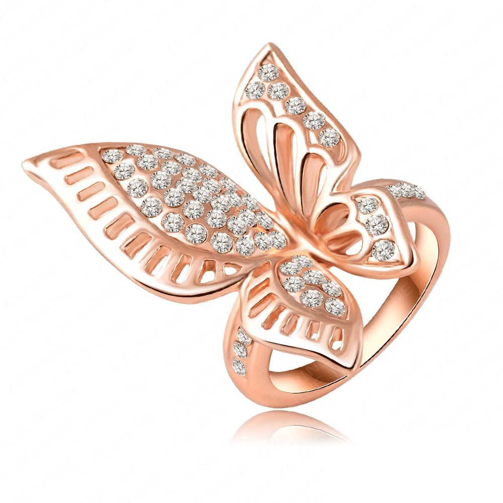 Evertrust (TM)18K Rose Gold Plating Classic Beautiful Butterfly Engagement Rings With Austrian Crystals Wedding Jewelry Ri-HQ0195