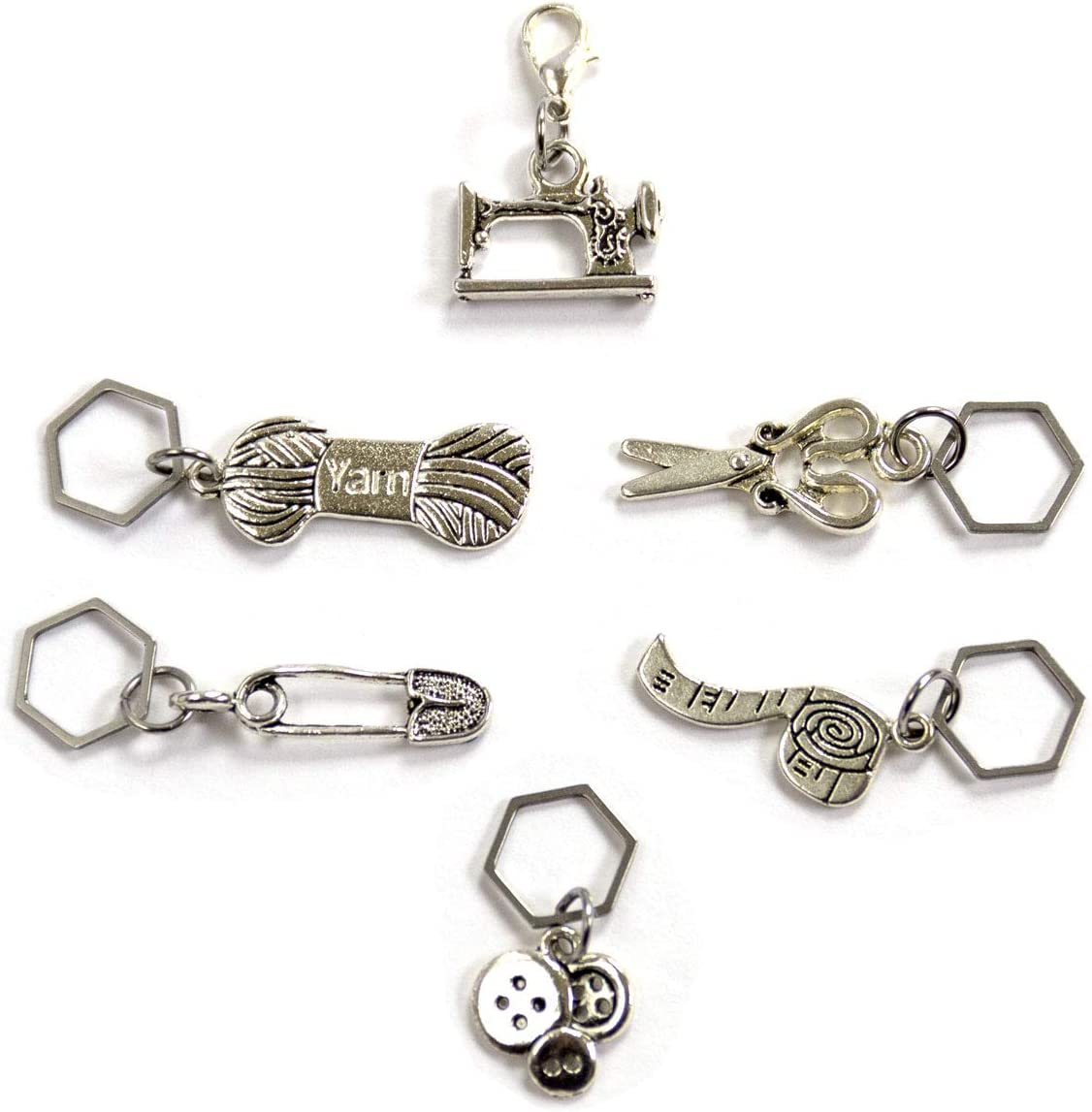 Set 4 Stitch Markers Crochet Knitting Clip Yarn Tape Measure Safety Pin Charms