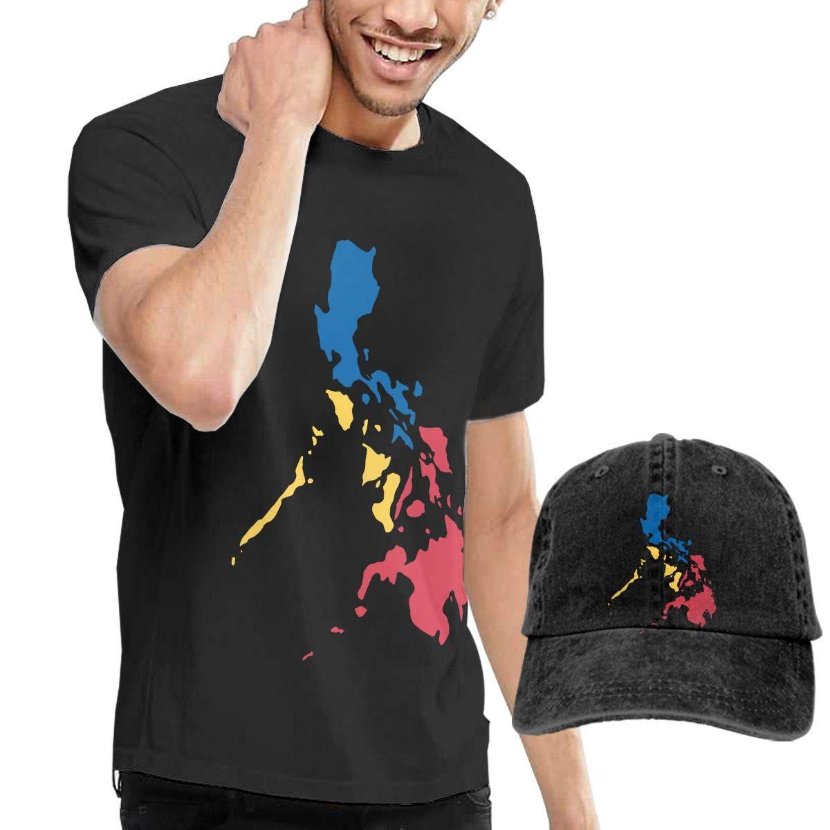 WWTBBJ-B Filipino Map Philippines Flag Adult Mens Cool T-Shirt and Baseball Jean Hat