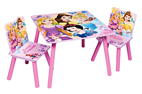 Familie24 3tlg. Holz Kindersitzgruppe Princess Tisch + 2X Stuhl Sitzgruppe Kindertisch Maltisch Prinzessin (Disney Princess)