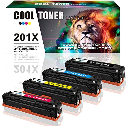 Cool Toner Compatible 201X Cf400X Cf401X Cf402X Cf403X Cf400A Toner Cartridge For Color LaserJet Pro Mfp M277Dw Pro M252Dw M277N M252N Printer 4 Pack- Black Cyan Yellow Magenta
