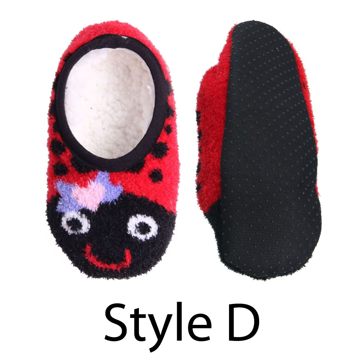 Adult Warm Microfiber Travel Animal Cozy Fuzzy Slippers Non-Slip Lined Socks/Shoes - Lady Bug (D), 3 Pairs by BambooMN (Image #1)