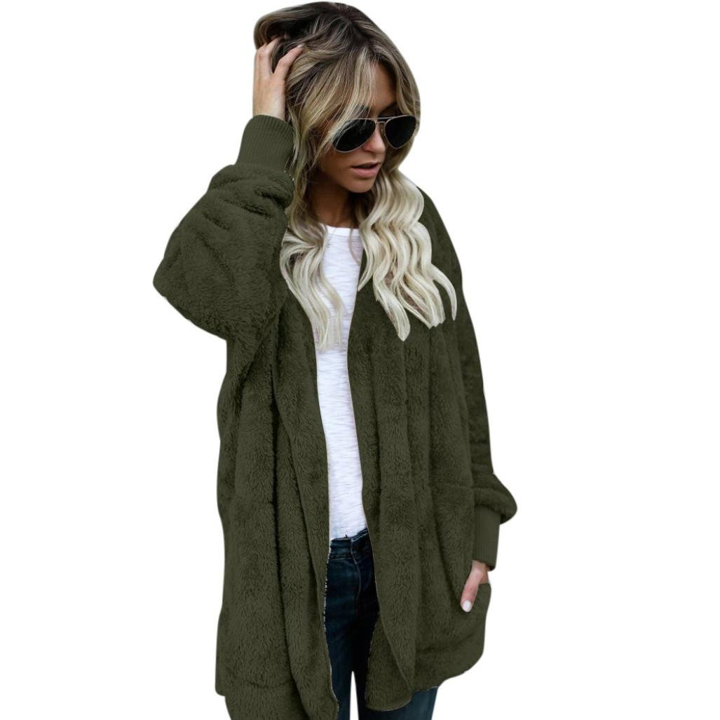 RTYou New Style Women Hooded Coat Jacket Fuzzy Parka Outwear Open Front Cardigan Coat With Pocket (Army Green, M)