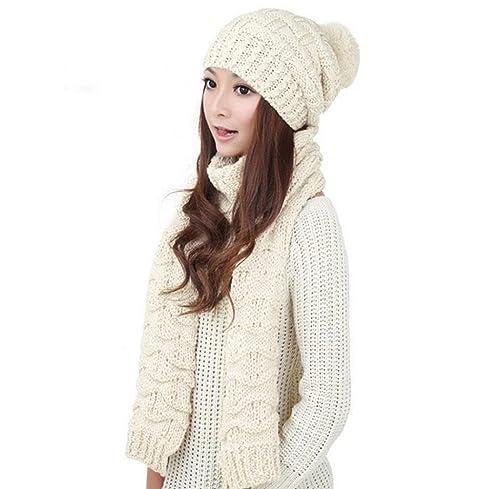 FEITONG 1 Set mujeres calientes De lana de punto la capilla de la bufanda Mantón capsula los sombreros Traje 4 colores