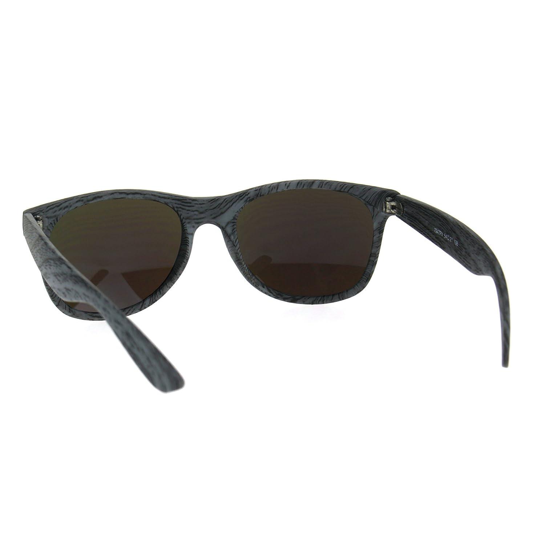 Color Mirror Wood Grain Classic Hipster Plastic Horned Rim Sunglasses