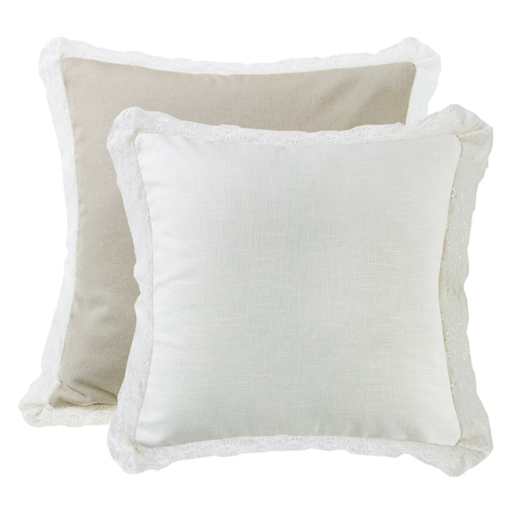Hiend Accents Unisex Cream Lace Trim Double-Sided Euro Sham Cream One Size