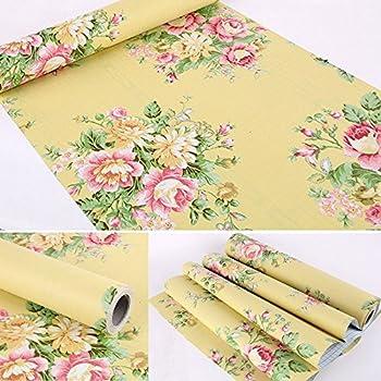 Amazon.com - Retro Peony Floral Self Adhesive Shelf Liner Decorative ...