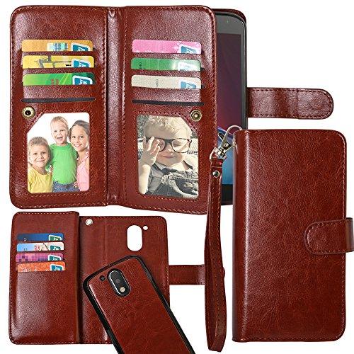 Motorola Moto G4 / G4 Plus Case, Harryshell(TM) 12 Cards Slot PU Leather Folio Wallet Flip Case Cover with Wrist Strap for Motorola Moto G4 / G4 Plus (A-9) (NOT FOR MOTO G4 PLAY)