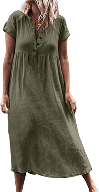 Style Dome - Vestido estampado estilo bohemio con volante y mangas cortas, vestido de algodón de corte irregular con partición sexi, vestidos de verano, vestidos de ...