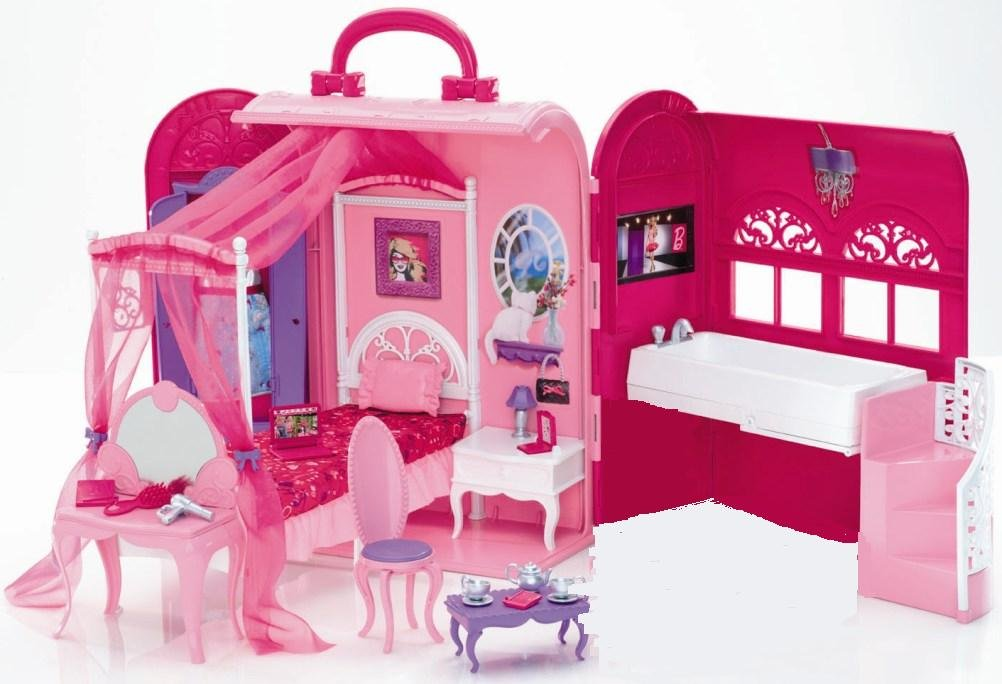 Attirant Barbie X7415 Glam Bedroom U0026 Bath Carry Case Playset   Doll Not Included  [Import]: Amazon.co.uk: Toys U0026 Games